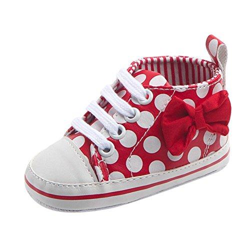 JERFER Bowknot Punkt Drucken Schnüren Babyschuhe Krabbelschuhe Turnschuhe aus Segeltuch mit weicher und Rutschfester Sohle für Babys und Kinder 3-12 Monate (12M, Rot)