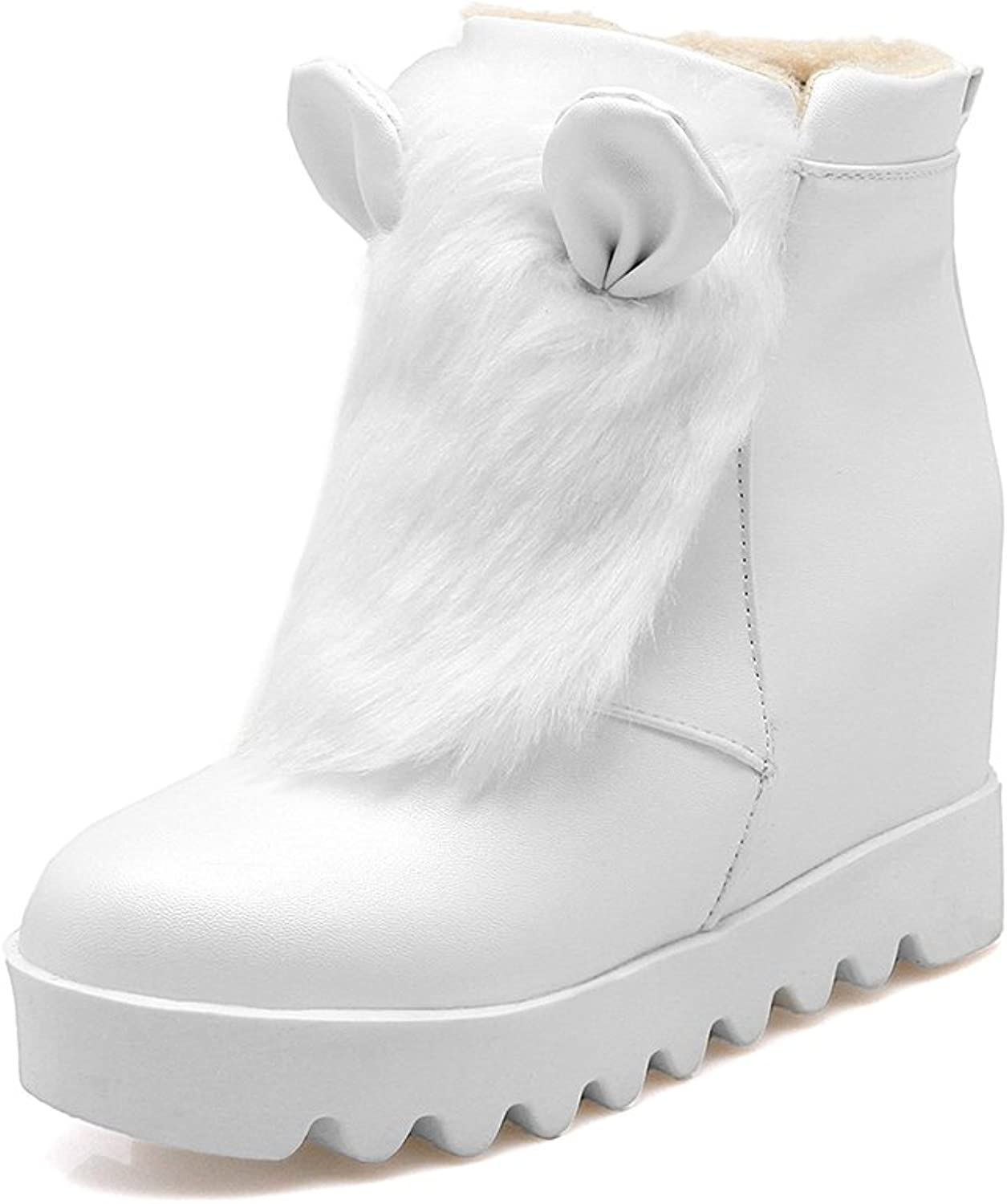 Rongzhi Womens Ankle Snow Boots Zipper Warm Plush Platform Heels Booties Ear