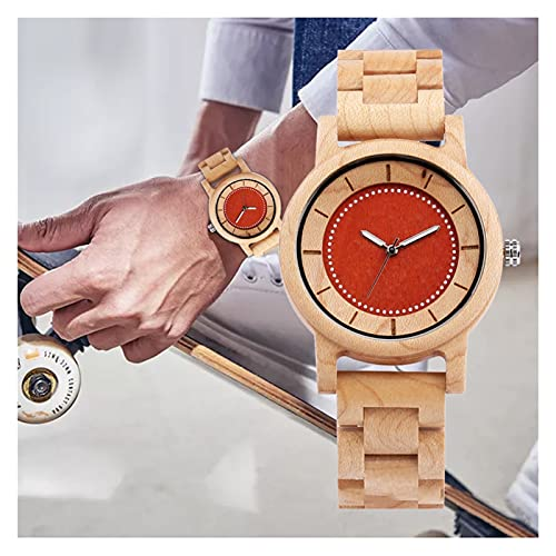 yuyan Reloj de Arce, Hombres y Mujeres Simples de Cuarzo, Dial de Puntero Luminoso Creativo, Duradero, ecológico, Saludable y cómodo.