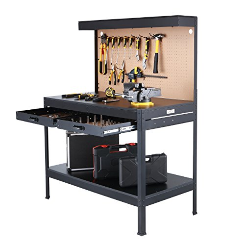 Olympia Tools Multi-Purpose Workbench With Light, 82-802,Black