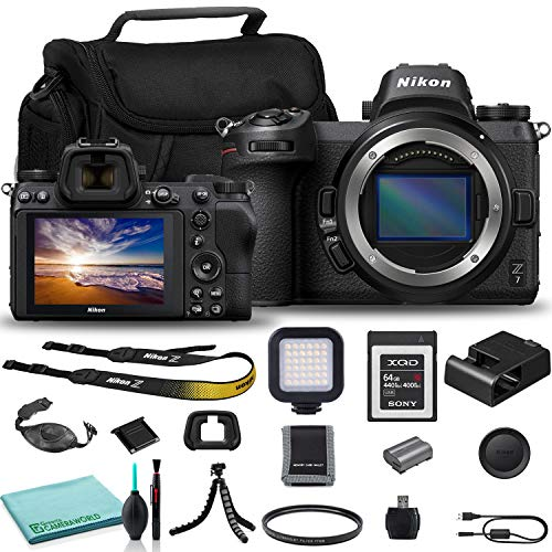 Nikon Z 7 Mirrorless Digital Camera (Body Only) (1591) USA Model + Camera Bag + Sony 64GB XQD G Series Memory Card + Hand Strap + Portable LED Video Light + Memory Card Wallet + More