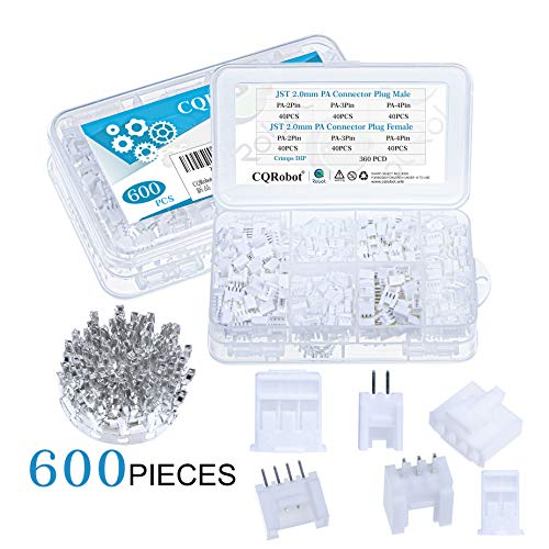 CQRobot 600 Pieces 2.0mm JST-PA JST Connector Kit. 2.0mm Pitch Female Pin Header, JST PA - 2/3/4 Pin Housing JST Adapter Cable Connector Socket Male and Female, Crimp Dip Kit.