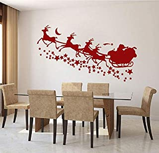 Tiukiu Santa's Sleigh with Stars Wall Decal Christmas Party Decorations Christmas Wall Decor Christmas Window Decal Stickers Santa's Reindeer 32 Inch in Width