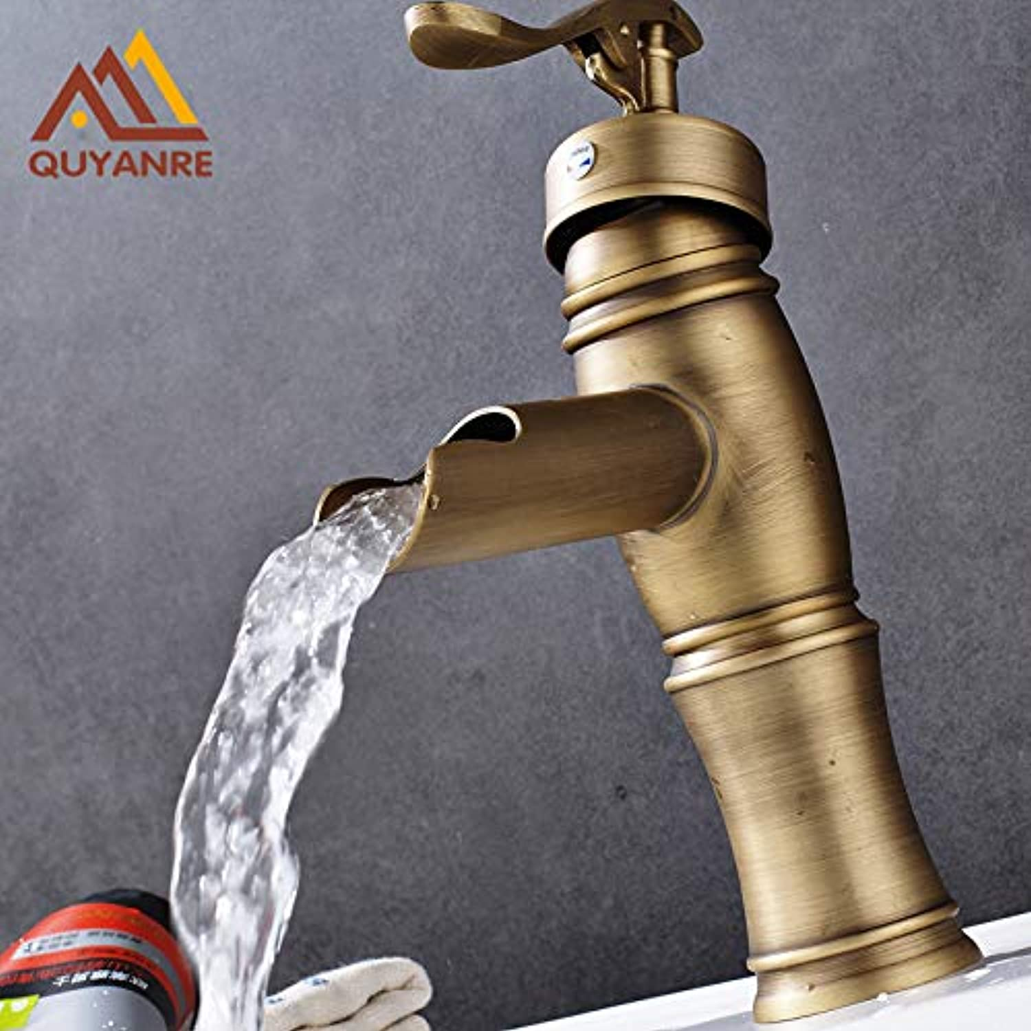 U-Enjoy Chandelier Style Basin Retro Faucet Brass Top Quality Waterfall Antique Outlet Cold and Water Mixerhot Free Shipping