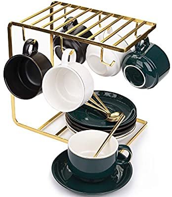 Yesland Porcelain Espresso Cups with Saucers and Metal Stand, Set of 6, 8 oz Ounce Royal Tea Cups/Cappuccino Cups with Gold Trim and Gift Box for Tea Party(White, Green & Black)