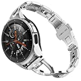 TOYOUTHS Compatible with Samsung Active 2 Watch 42mm Band Women Rhinestone Replacement Smart Watch Bracelets Samsung Watch 42mm R810/Galaxy Active 40mm R500/20mm Watch Band, Silver
