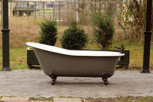 "Grey Brown 67"" Antique Inspired Cast Iron Porcelain Clawfoot Bathtub 5.5' Flat Rim Slipper Bathtub Package Bronze Feet"