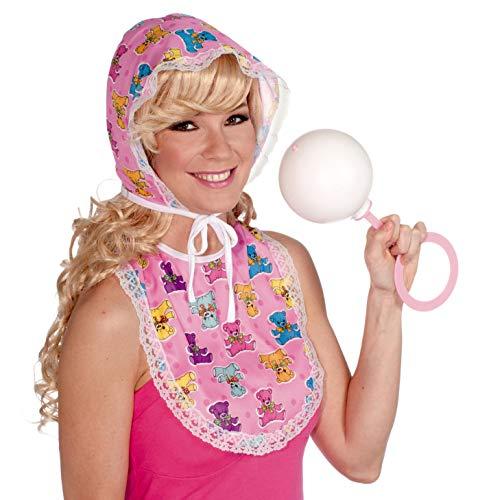 Forum Novelties Big Baby Oversized Costume Bib and Bonnet Set, Pink, One Size