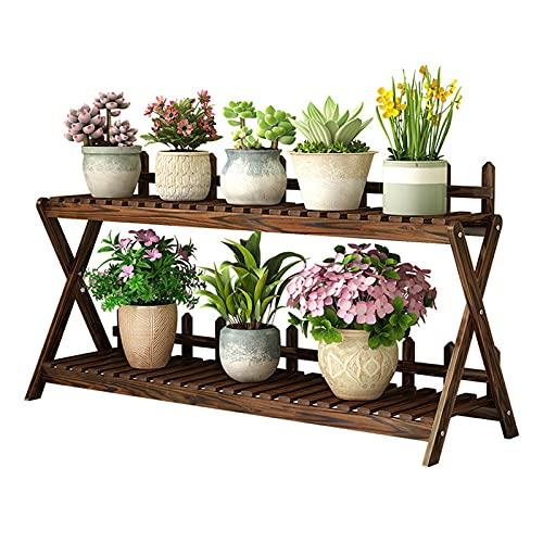 Supporto per piante in legno per interni per esterni 2 livelli per fioriera per fioriera angolare a...
