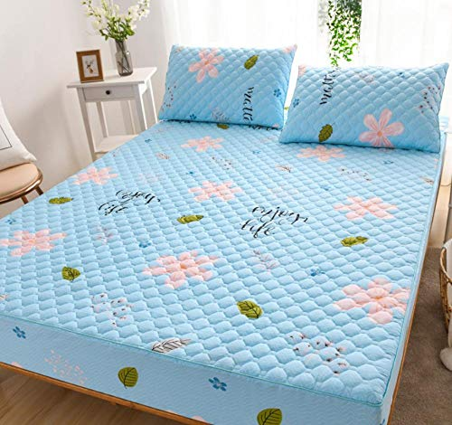 XLMHZP Colchón superior, almohadilla de colchón de tamaño doble, funda protectora de bolsillo extra profunda, funda de colchón súper suave, apta para hoteles familiares de 150 x 200 cm + 30 cm