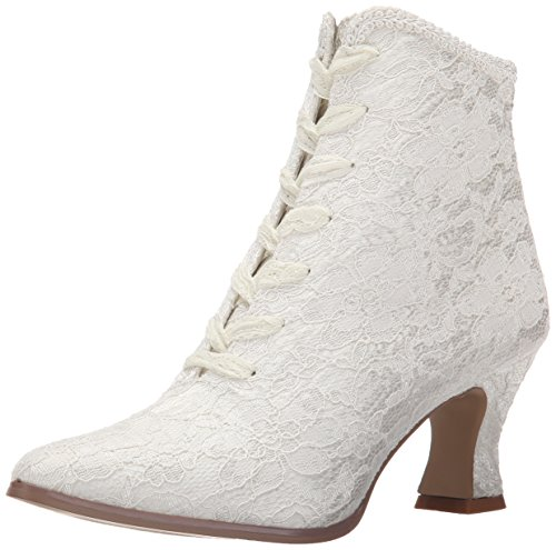 Fabulicious Damen VICTORIAN-30 Stiefel, Elfenbein (Ivory Satin-Lace), 37 EU