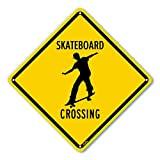Petka Signs and Graphics PKAC-0158 Skateboard Crossing Aluminum Sign, Black Text with Yellow Background 10' x 10', Black Text with Yellow Background