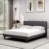 Upholstered Queen Size Premium Platform Bed,Button Tufted Headboard, Dark Grey