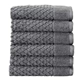 100% Cotton Hand Towel Set (16 x 28 inches) Highly Absorbent, Textured Luxury Hand Towels. Grayson Collection (Set of 6, Dark Grey)