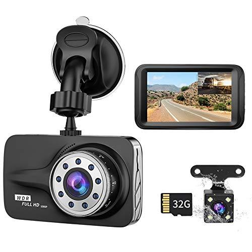 "Dash Cam, XUSHIDZ Car Camera Front and Rear Dual Lens Drive Recorder Dashboard with SD Card, 1080P Full HD, 3.0"" Screen, Loop Recording, G-Sensor, WDR, Night Vision, Motion Detection, 170° Wide Angle"
