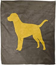 Emvency Decorative Throw Blanket 60 x 80 Inches Yellow Labrador Dog with Shadow Silhouette Golden Retriever Lab Black Cartoon Warm Flannel Soft Blanket for Couch Sofa Bed