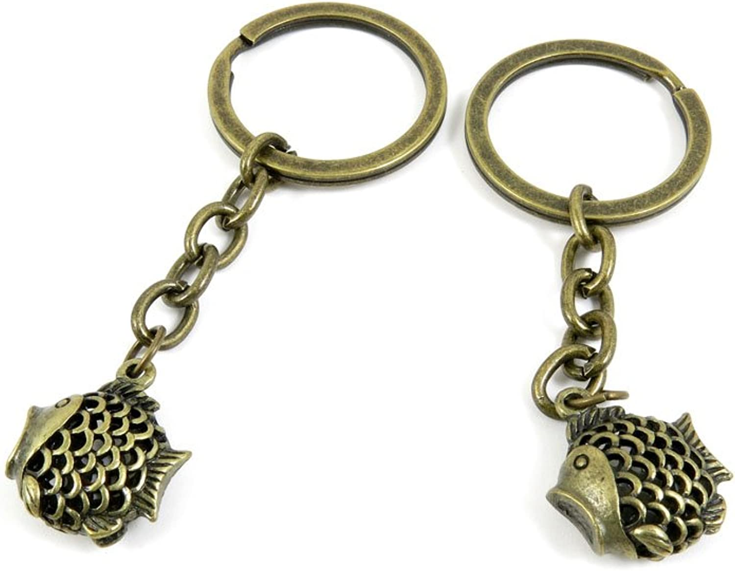 100 PCS Keyrings Keychains Key Ring Chains Tags Jewelry Findings Clasps Buckles Supplies G1NV2 Hollow Fish
