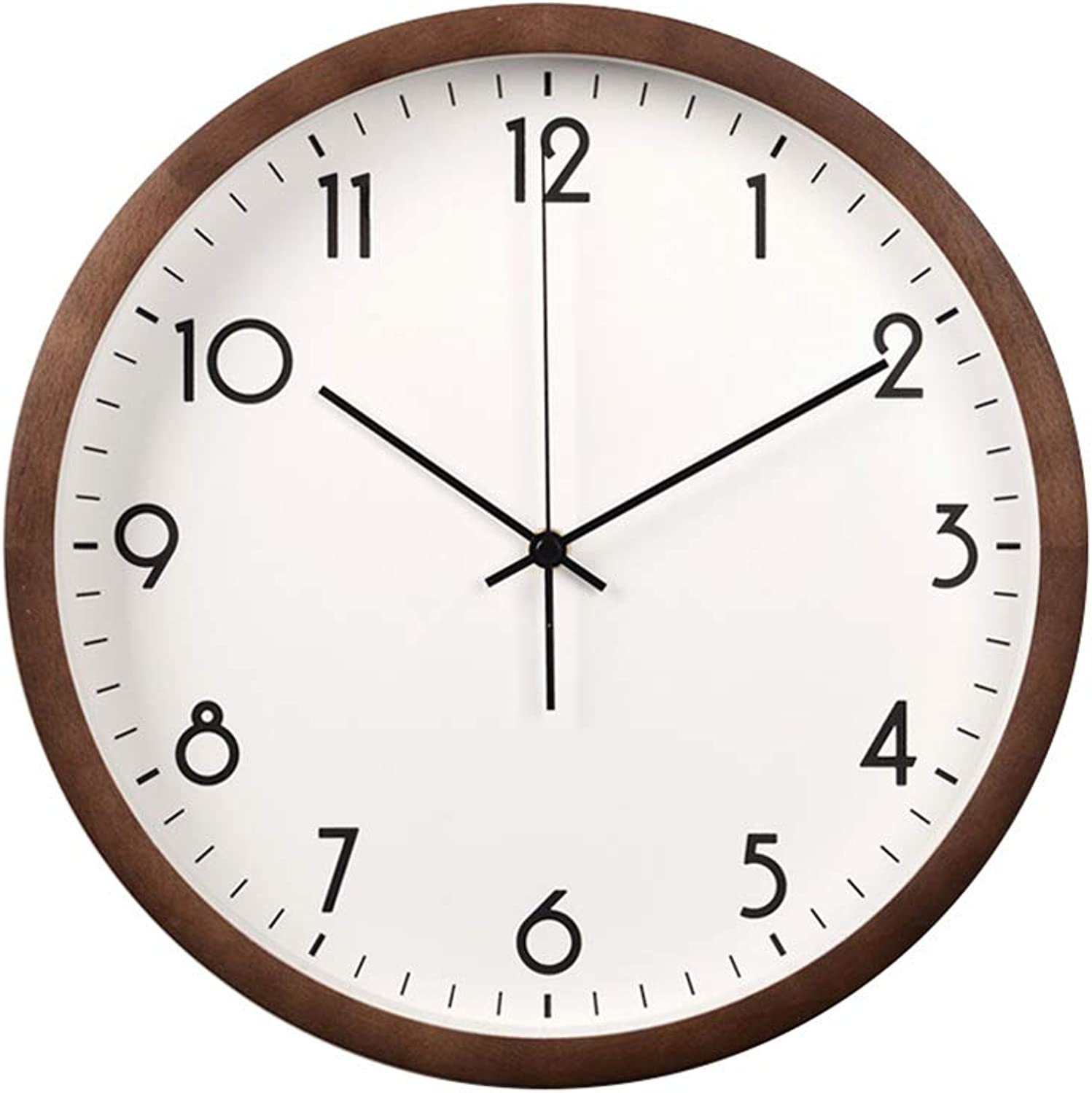 Creative Wall Clock Living Room Home Hanging Table Solid Wood Wall Clock no Printed Wave Wall Clock Silent Quartz Clock Bedroom Personality Clock (color   Brown, Size   30.5cm(12in))