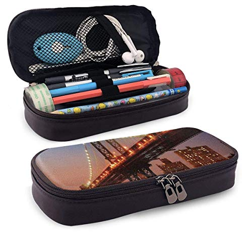 Pencil Case Big Capacity Storage Holder Desk Pen Pencil Marker Stationery Organizer Pencil Pouch with Zipper,Manhattan Bridge with Night Lights Over Hudson River Brooklyn Popular Town Image