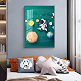 GEGEBIANHAOKAN Impresiones Lienzo Dibujos Animados vía láctea Cohetes astronautas Carteles Modernos Pintura Cuadro de Pared para Sala de Estar Dormitorio Infantil decoración-40x60cm sin Marco
