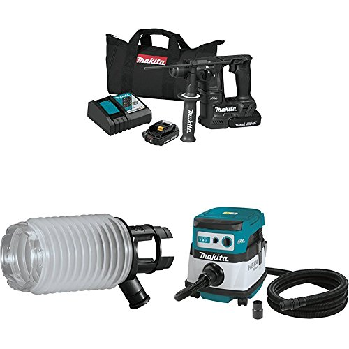 "Makita XRH06RB 18V LXT Sub-Compact Brushless 11/16"" Rotary Hammer Kit, 198362-9 Dust Extraction Cup, XCV07ZX 18V X2 LXT (36V) Brushless 2.1 Gallon HEPA Filter Dry Dust Extractor/Vacuum"