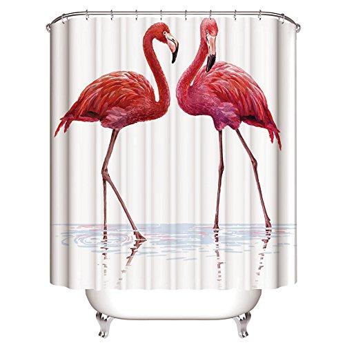 GraceFINE Duschvorhang 3D Polyesterfaser Stoff Wasserdicht Bad Vorhänge Antibakterielle Badezimmer Gardine mit Haken 180*180cm, Flamingo