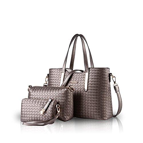 NICOLE&DORIS Damen Handtasche Set Geldbörse Crossbody Schulter Beutel Geldbeutel Tasche Tote Weiches PU Bronze