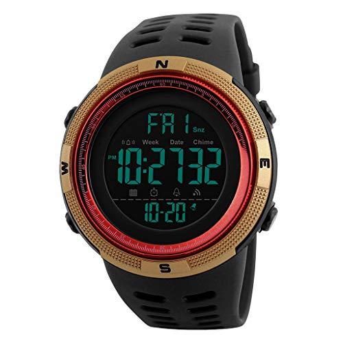 TISHITA Reloj Digital Deportivo al Aire Libre para Hombre Impermeable con cronómetro Alarma EL Calendario de retroiluminación Semana - Rojo Oro
