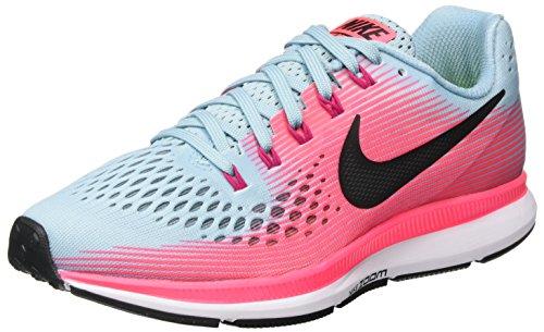 Nike Women's Air Zoom Pegasus 34 Running Shoe Wide Mica Blue/White/Racer Pink/Sport Fuchsia Size 7 Wide US
