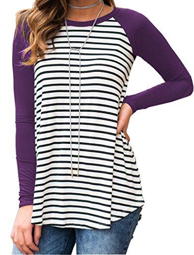 Halife Black and White Striped Shirts for Leggings for Women Raglan Sleeve Purple XL