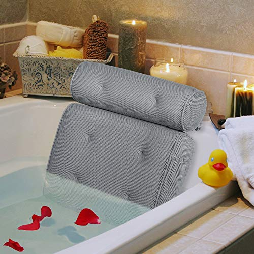 Vessgra Bath Pillow, Ergonomic Bathtub Spa Pillow with Side Pocket for Accessories, Luxury Extra Large Bath Pillow Support Head, Neck, Shoulder, Back for All Bathtub, Hot Tub, Jacuzzi, Home Spa