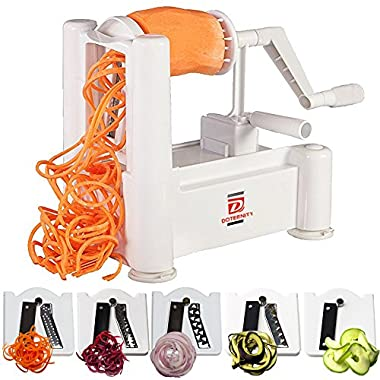 5-Blades vegetable spiralizer by DOTERNITY - Zucchini Spaghetti Maker - for Low Carb/Paleo/Vegan/Raw/Gluten-Free Meals- Professional Spiral Vegetable Slicer Kitchen cutter Tool …