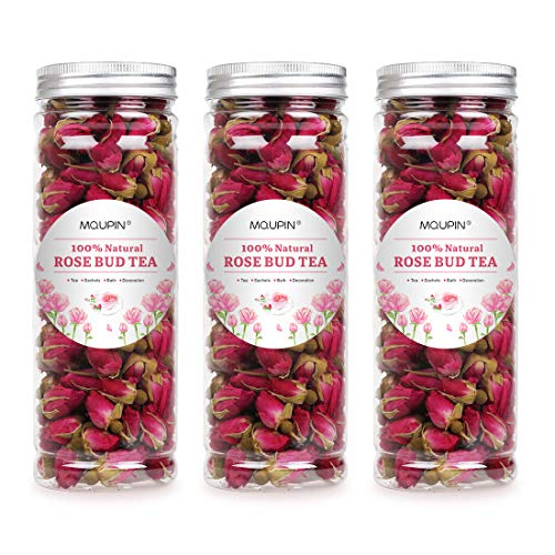 MQUPIN Organic Rose Bud Tea Dried Red Rose Petal Flower Edible Buds Detox Tea 250g/3Packs