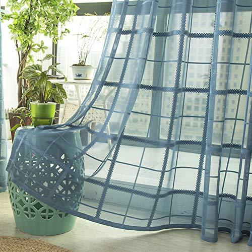 HM&DX Transparent Voile Gardinen Tüll 1 Panel,Karierten Voile Vorhänge ösen,dekorative Vorhang Drapieren Wohnzimmer Schlafzimmer Blau 150x270cm(59x106in)
