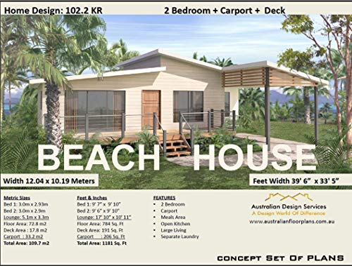 Beach House Plan- 2 Bedroom + Carport house plan: Full Architectural Concept Home Plans includes detailed floor plan and elevation plans (2 Bedroom House Plans Book 102) (English Edition)