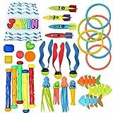 30 Stück Tauchpoolspielzeug Jumbo Set mit Aufbewahrungstasche beinhaltet 5 Tauchstöcke, 6...
