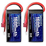 URGENEX 2S Lipo Battery 7.4v Lipo, RC Lipo Batteries 35C 1600mah Lipo Batteries with Deans T Plug Campatibal with WLtoys Rc Cars, Truck, Truggy, Helicopter, Drone, Redcat Racing (2Pack)
