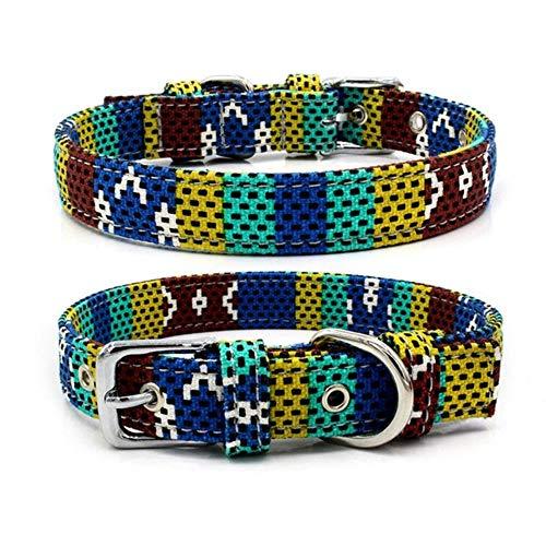 GOUSHENG hondenhalsband, verstelbaar, bohème, meerkleurig, dubbele stof, halsband voor huisdieren, katten, klein, middelgroot, voor huisdieren, A, M