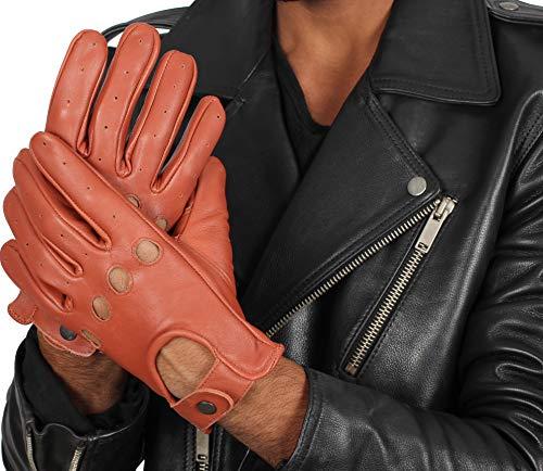 Mens Tan Brown Leather Motorcycle Gloves - Adult Biker Sheepskin Gloves (L)
