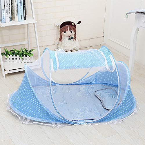 Baby Infant Travel Bed,Portable Folding Mosquito Net Anti-Bug Crib Tent Newborn Crib Summer Autumn Baby Cots with Mattress Pillow,Blue