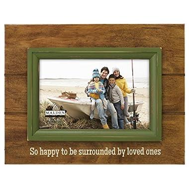 Malden International Designs Rustic Walnut With Green Inner Frame Border  Loved Ones  Picture Frame, 4x6, Brown