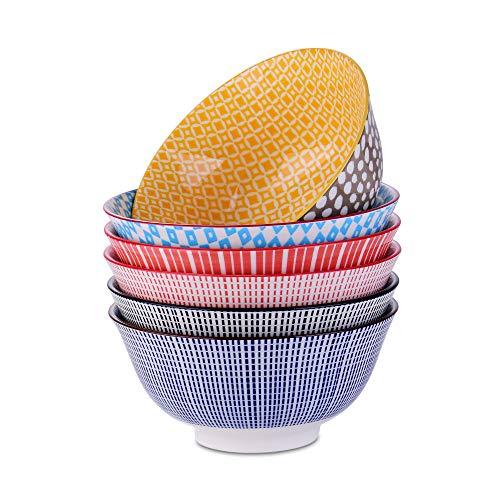 vancasso Ciotole Giapponese per Ramen Set di 6 Ciotole in Porcellana per Riso/Insalata/Minestra/Cereali 750ml