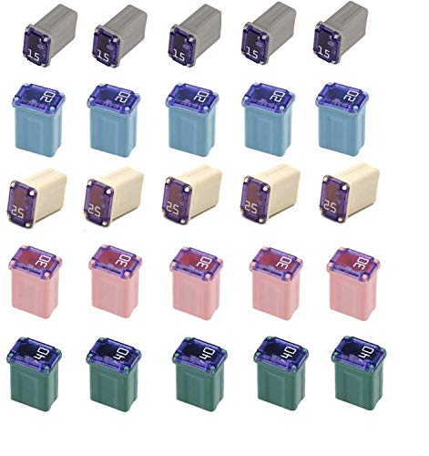 25 Pack Micro Cartridge Fuses, 15 Amp Micro Fuse, 20 Amp Micro Fuse, 25 Amp Micro Fuse, 30 Amp Micro Fuse, 40 Amp Micro Fuse, FMM Fuses Kit MCASE Type for Cars, SUVs and Trucks
