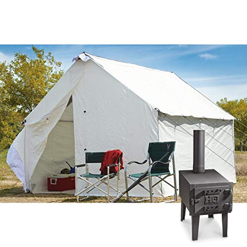 10' x 12' Canvas Wall Tent Complete Bundle with Floor, Aluminum Frame, and Outdoor Wood Stove