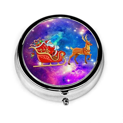 Runde Pille Box, niedlichen Weihnachtsmann mit Schlitten tragbare dekorative Metallmedizin Vitamin Organizer Lagerung Reise Pillenetui Inhaber Organizer