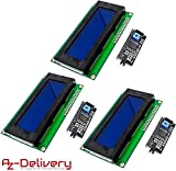 AZDelivery 3 x HD44780 Modulo Display LCD 2004 Display Bundle con Interfaccia I2C 4x20 Caratteri (sfondo blu) con eBook