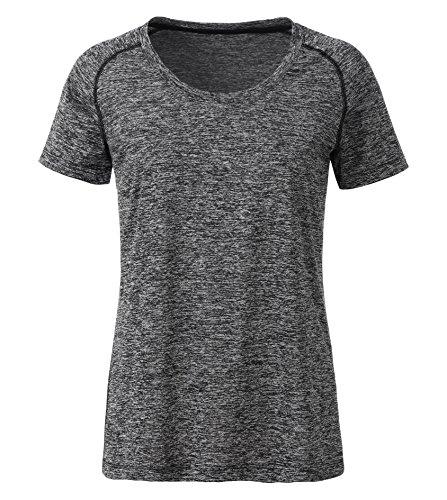 James & Nicholson Damen Regular Fit T-Shirt Ladies' Sports JN495 bmbl, Gr. 40 (Herstellergröße: XL), Schwarz (Black-Melange/Black)