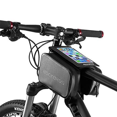Asolym Bolso para Bicicleta con Marco Frontal para Teléfono Dos Bolsillos, Ciclismo Bolsa para Manillar Tubo Frontal Resistente al Agua Pantalla Táctil para Teléfonos Android/iPhone de Menos de 6.0'