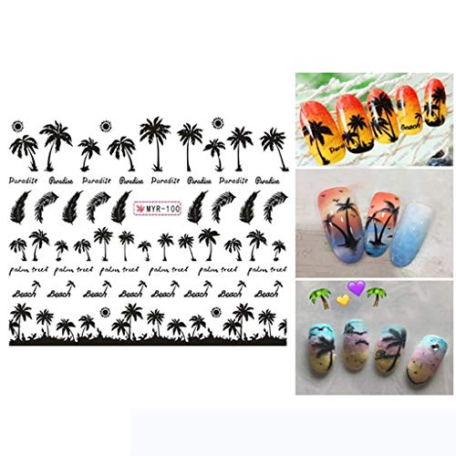 2PCS Nail Sticker Foil Nail Art Manicure Palm Ocean Wind Tropical Surf Beach Cocos Tree Style Nail Sticker Decal