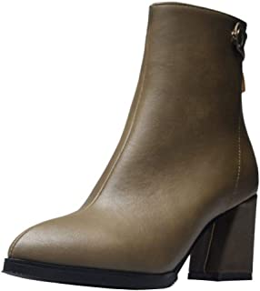 TAOFFEN Women Simple Block Heels Short Boots Zipper
